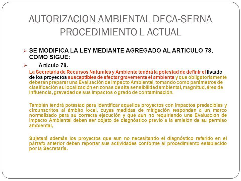 AUTORIZACION AMBIENTAL DECA-SERNA PROCEDIMIENTO L ACTUAL