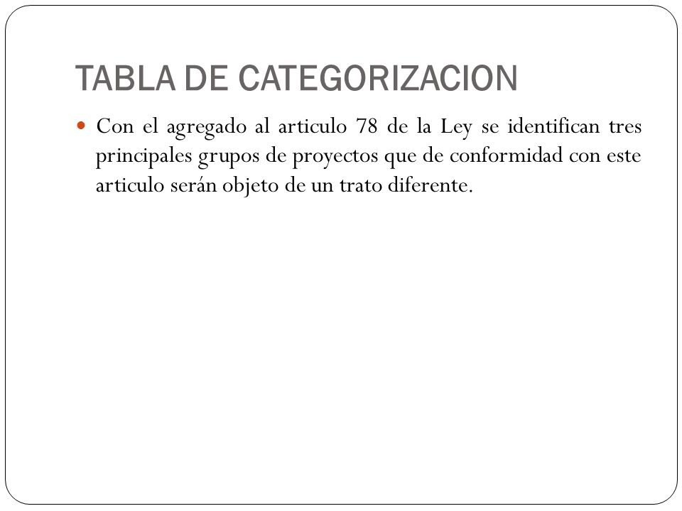 TABLA DE CATEGORIZACION