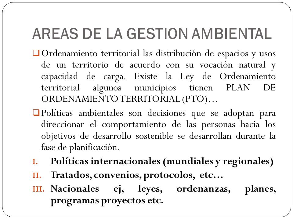 AREAS DE LA GESTION AMBIENTAL