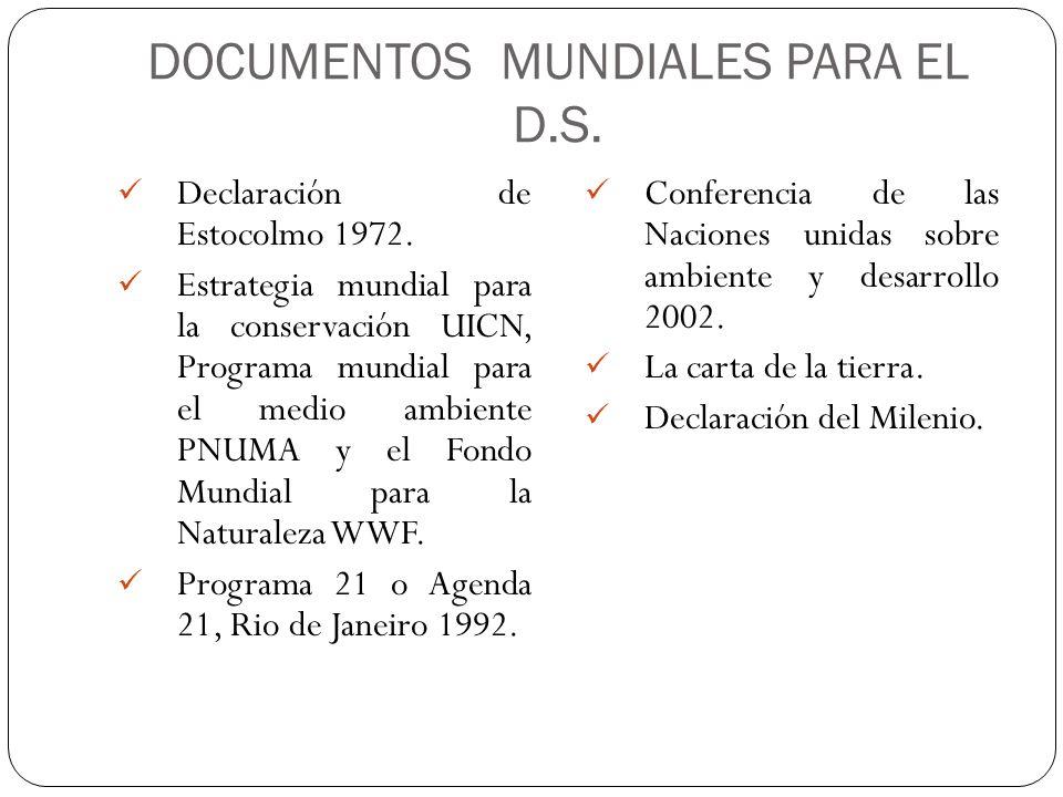 DOCUMENTOS MUNDIALES PARA EL D.S.