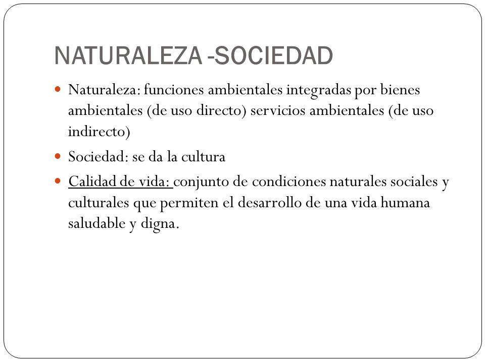 NATURALEZA -SOCIEDAD Naturaleza: funciones ambientales integradas por bienes ambientales (de uso directo) servicios ambientales (de uso indirecto)
