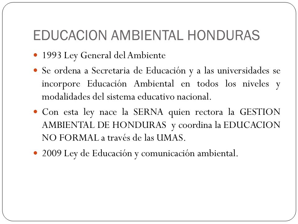EDUCACION AMBIENTAL HONDURAS
