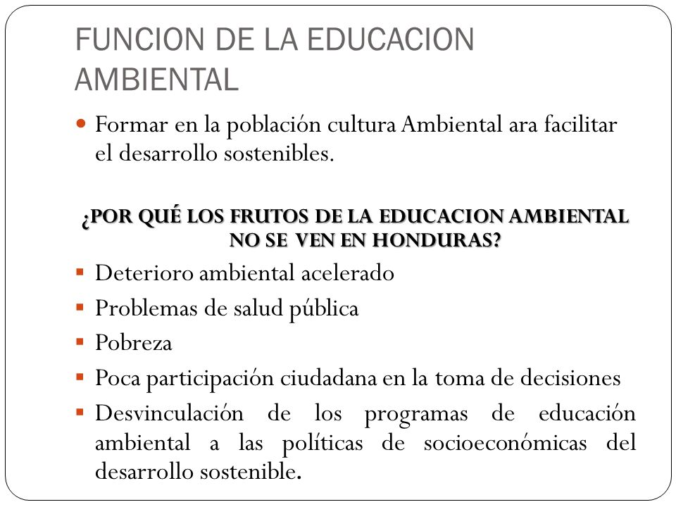 FUNCION DE LA EDUCACION AMBIENTAL