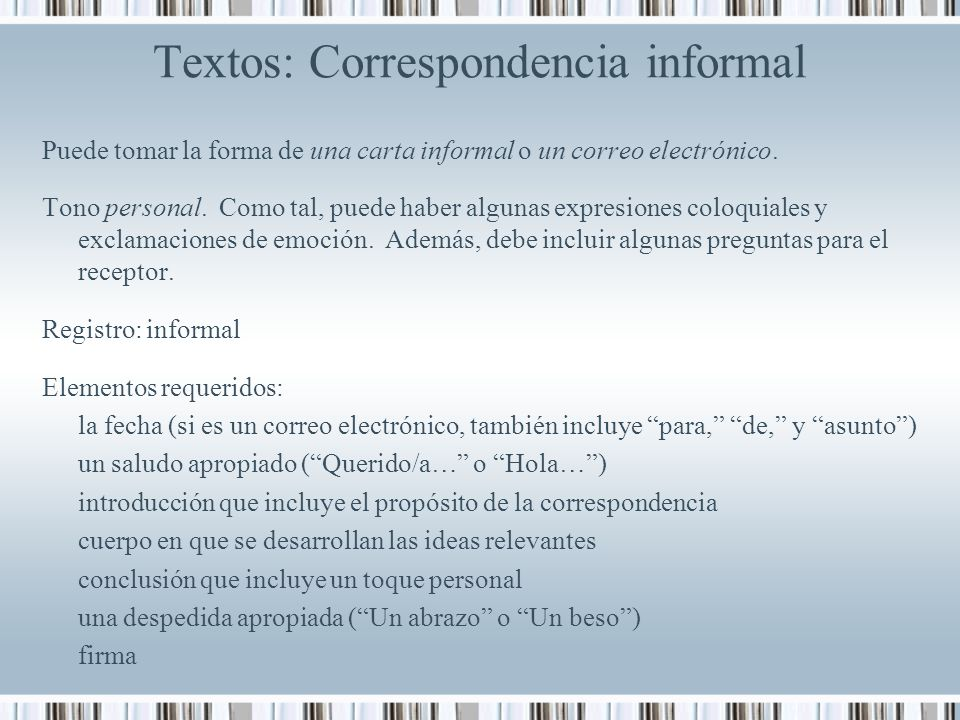 Textos: Correspondencia informal