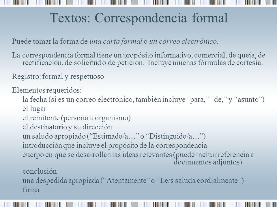 Textos: Correspondencia formal