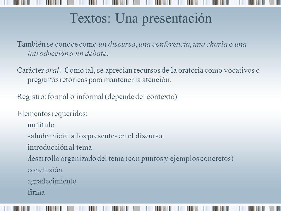 Textos: Una presentación