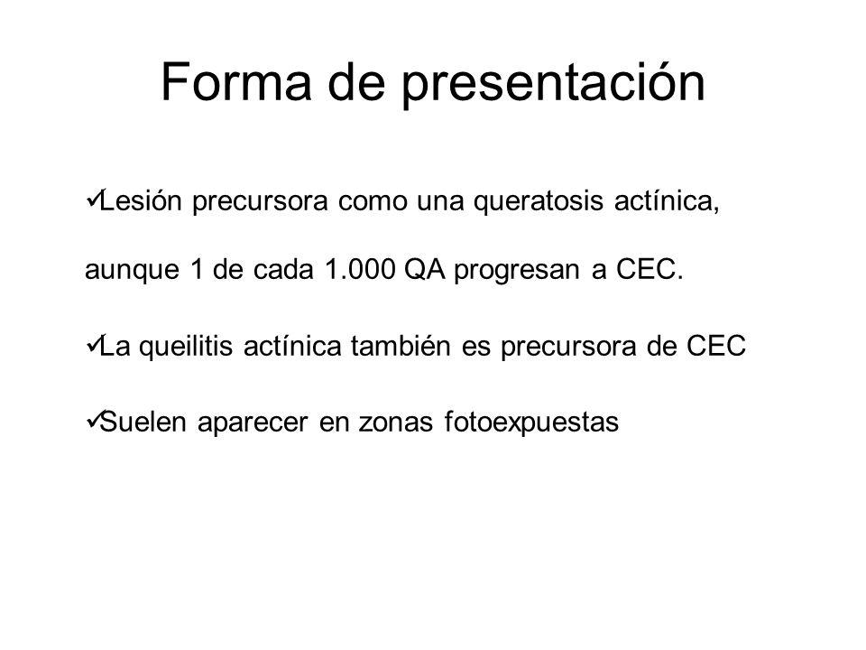 Forma de presentación Lesión precursora como una queratosis actínica, aunque 1 de cada 1.000 QA progresan a CEC.