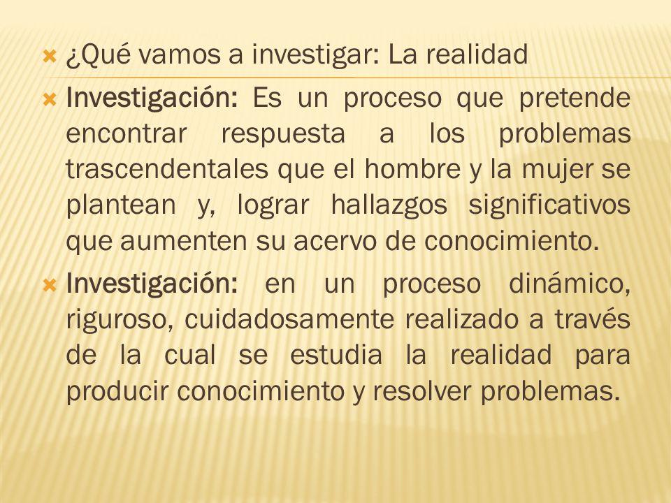 ¿Qué vamos a investigar: La realidad
