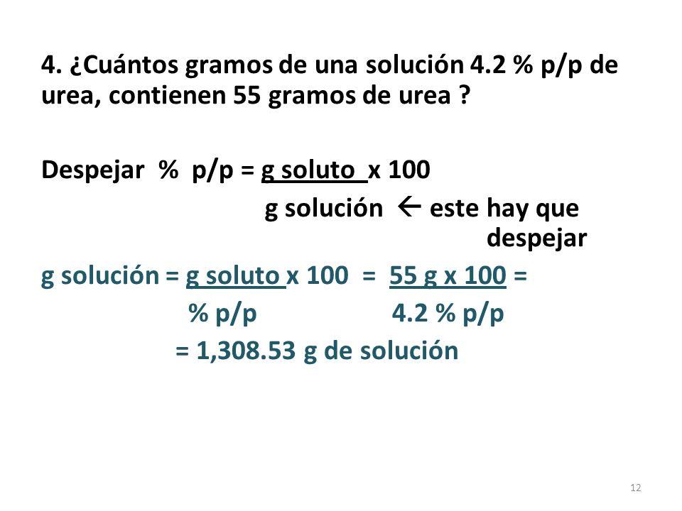 4. ¿Cuántos gramos de una solución 4