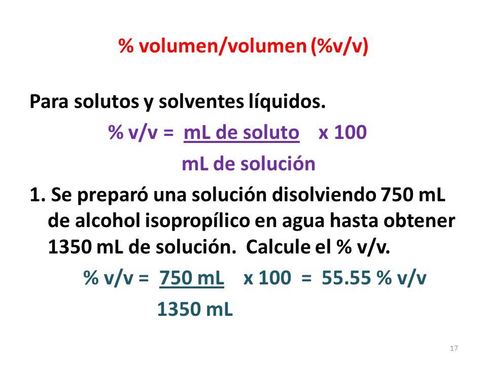 % volumen/volumen (%v/v)