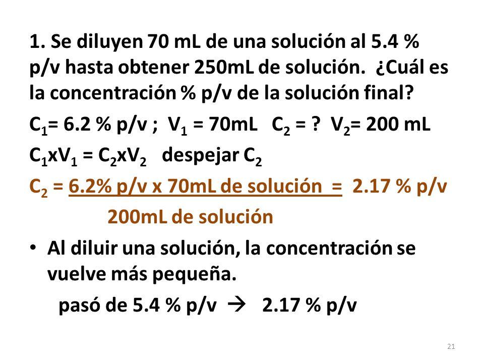 1. Se diluyen 70 mL de una solución al 5