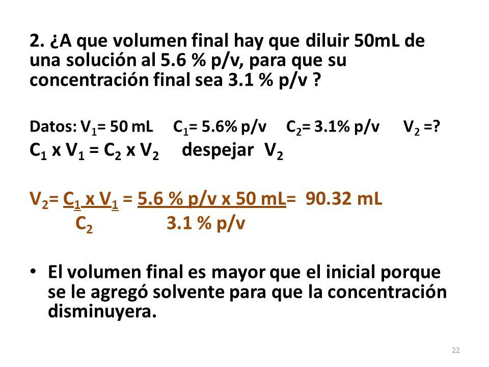2. ¿A que volumen final hay que diluir 50mL de una solución al 5