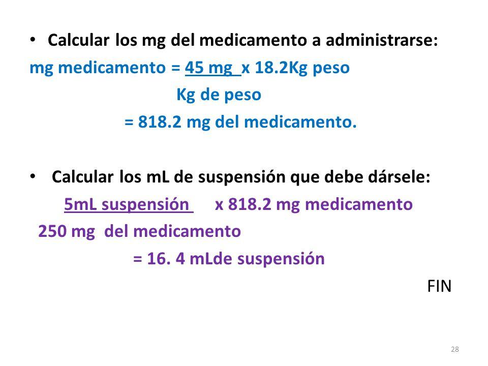 Calcular los mg del medicamento a administrarse: