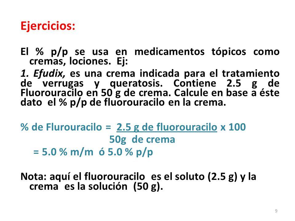 Ejercicios: El % p/p se usa en medicamentos tópicos como cremas, lociones. Ej:
