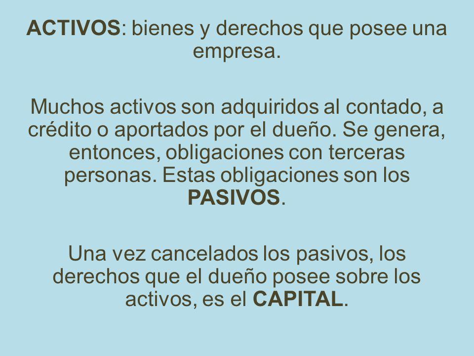 ACTIVOS: bienes y derechos que posee una empresa.
