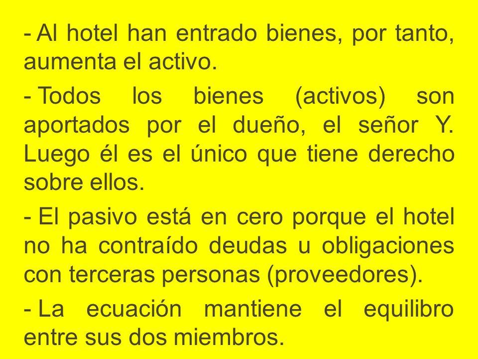 Al hotel han entrado bienes, por tanto, aumenta el activo.