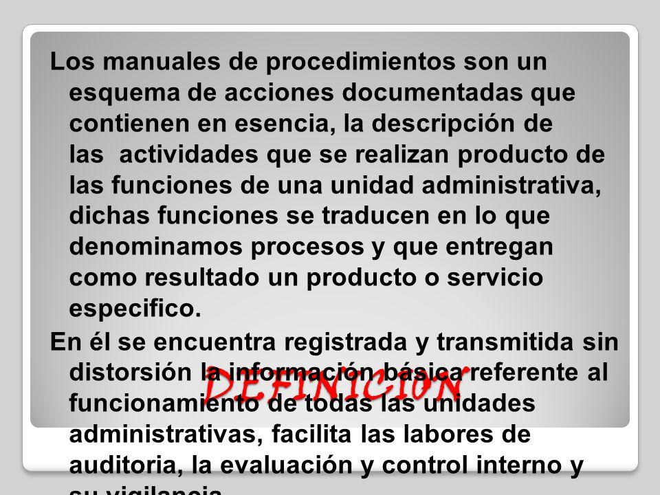Procesos y procedimientos de la unidad administrativa for Manual de operaciones de un restaurante ejemplo