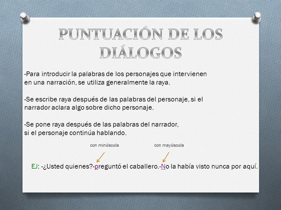 PUNTUACIÓN DE LOS DIÁLOGOS
