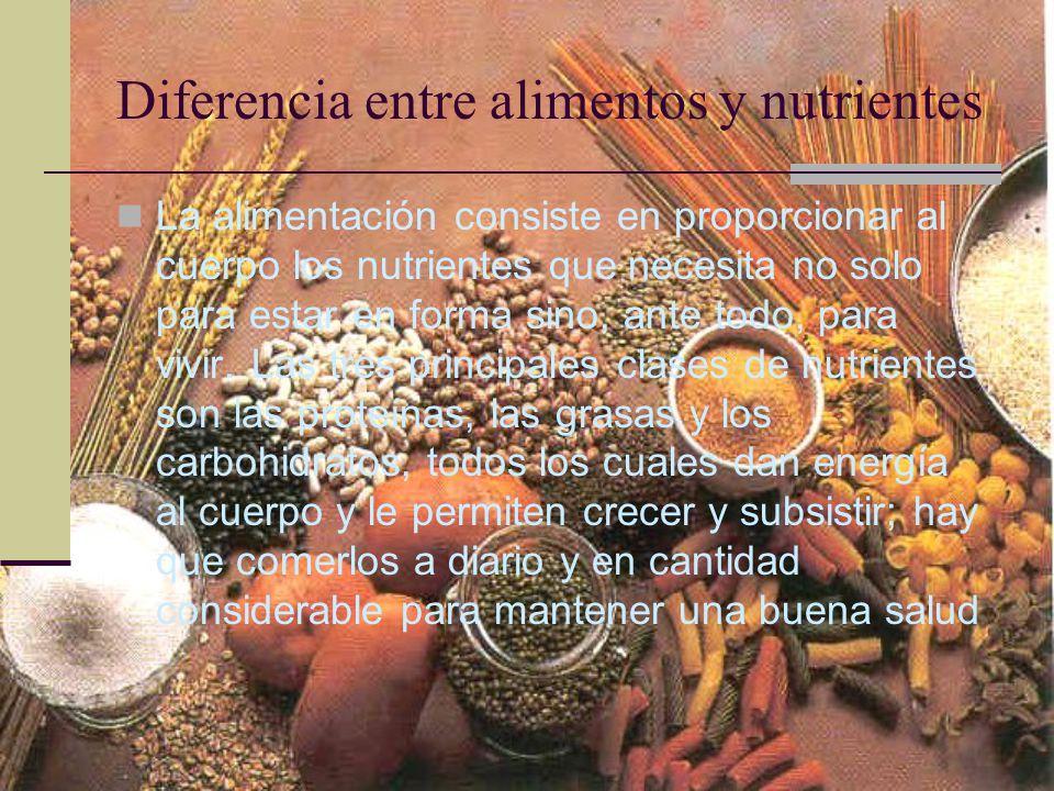 Diferencia entre alimentos y nutrientes