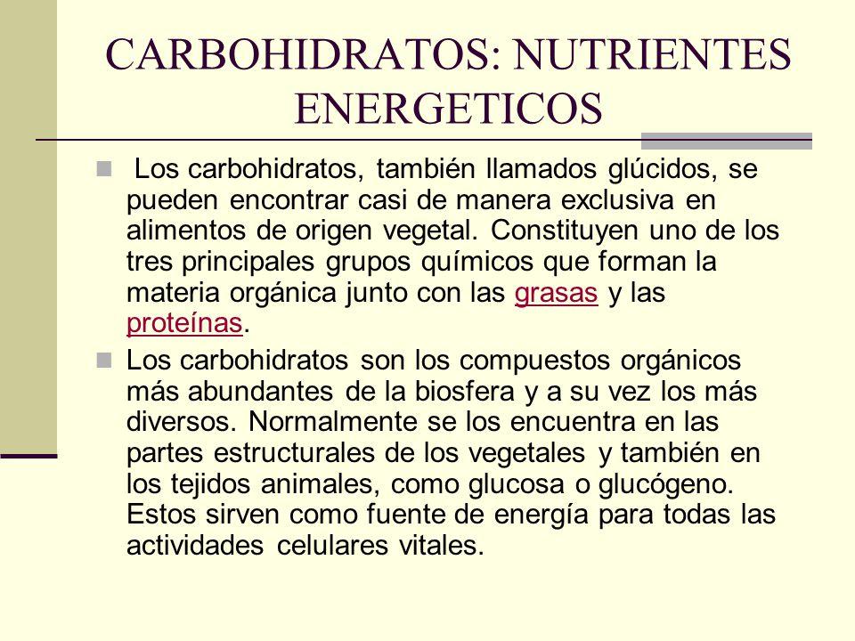 CARBOHIDRATOS: NUTRIENTES ENERGETICOS