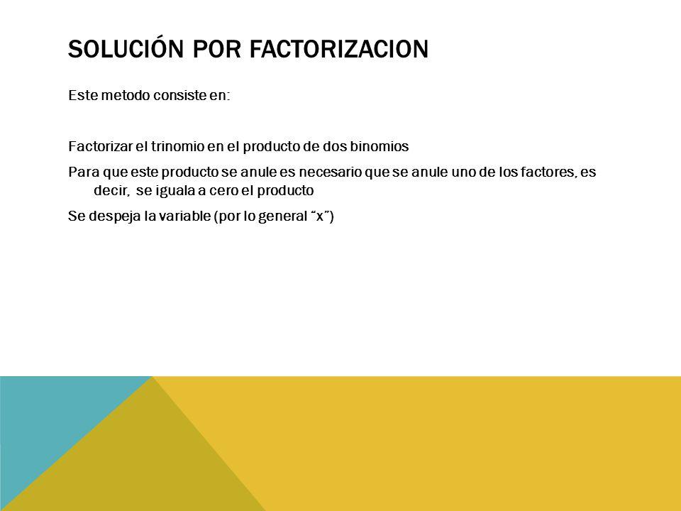 Solución por factorizacion