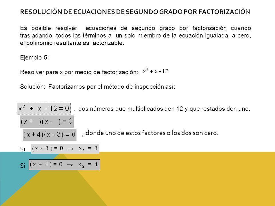 RESOLUCIÓN DE ECUACIONES DE SEGUNDO GRADO POR FACTORIZACIÓN
