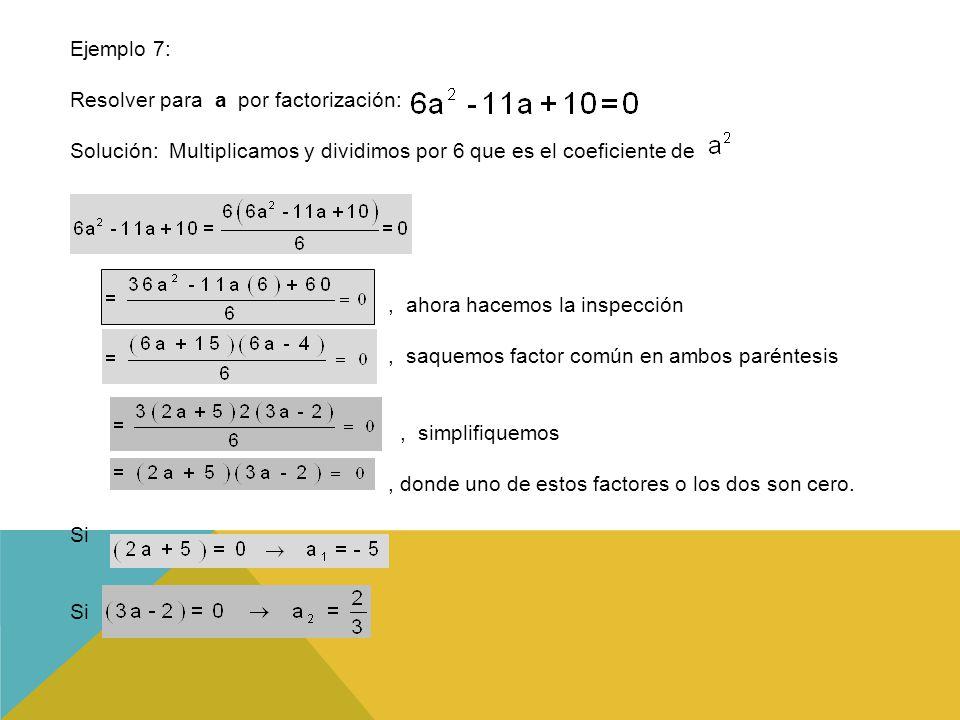 Resolver para a por factorización: