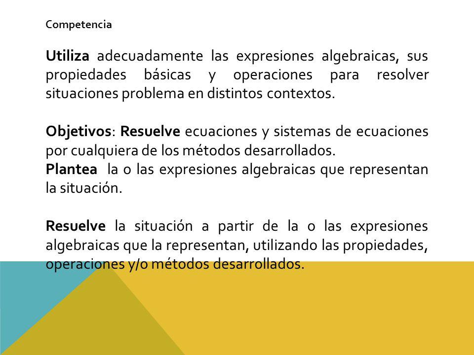 Plantea la o las expresiones algebraicas que representan la situación.