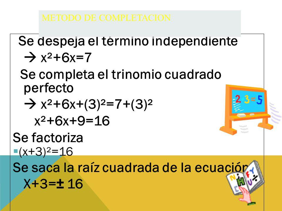 Se completa el trinomio cuadrado perfecto  x²+6x+(3)²=7+(3)²