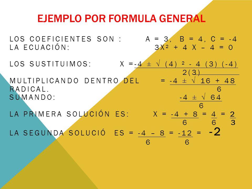 Ejemplo por formula general