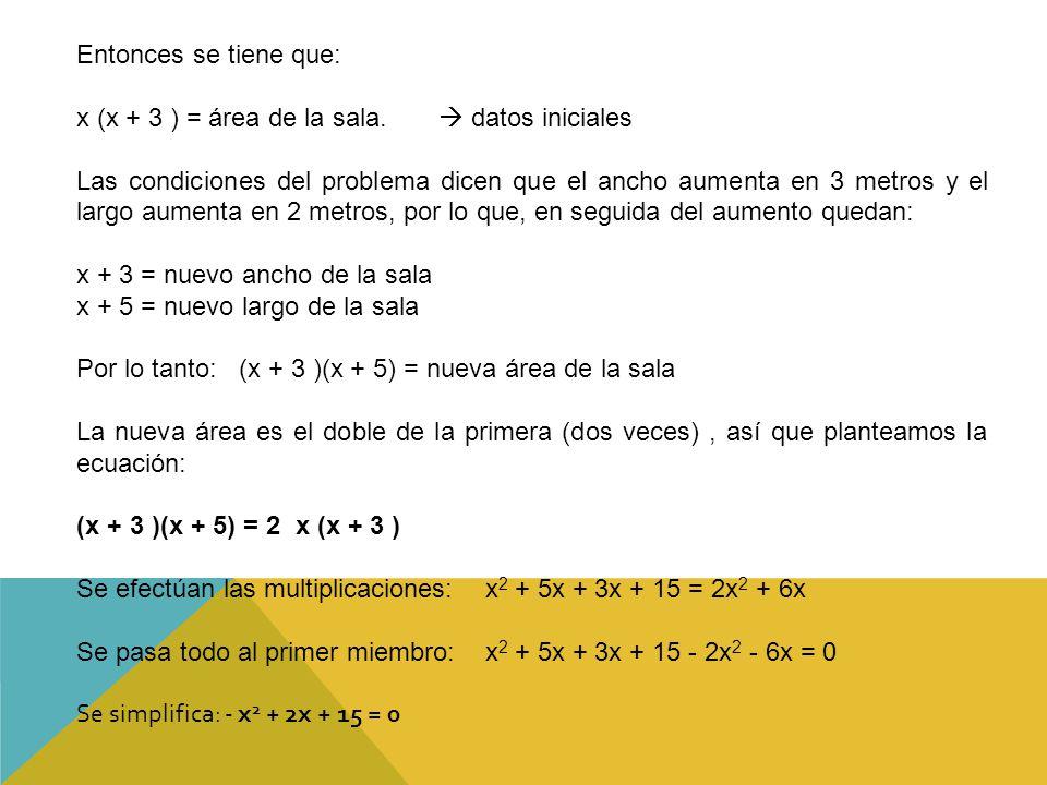 Entonces se tiene que: x (x + 3 ) = área de la sala.  datos iniciales.