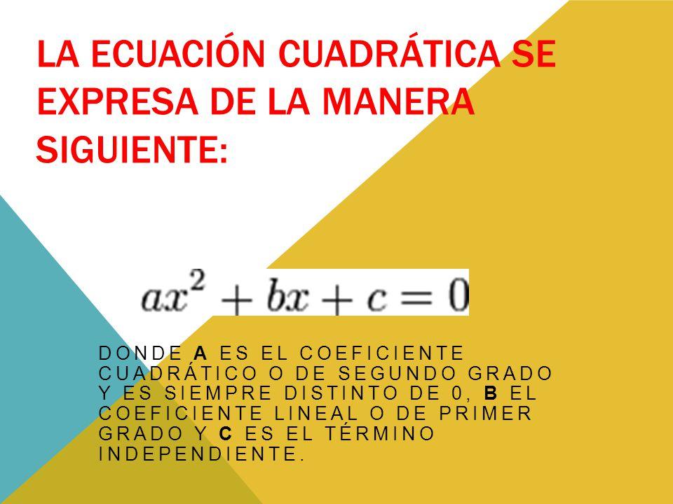 La ecuación cuadrática se expresa de la manera siguiente: