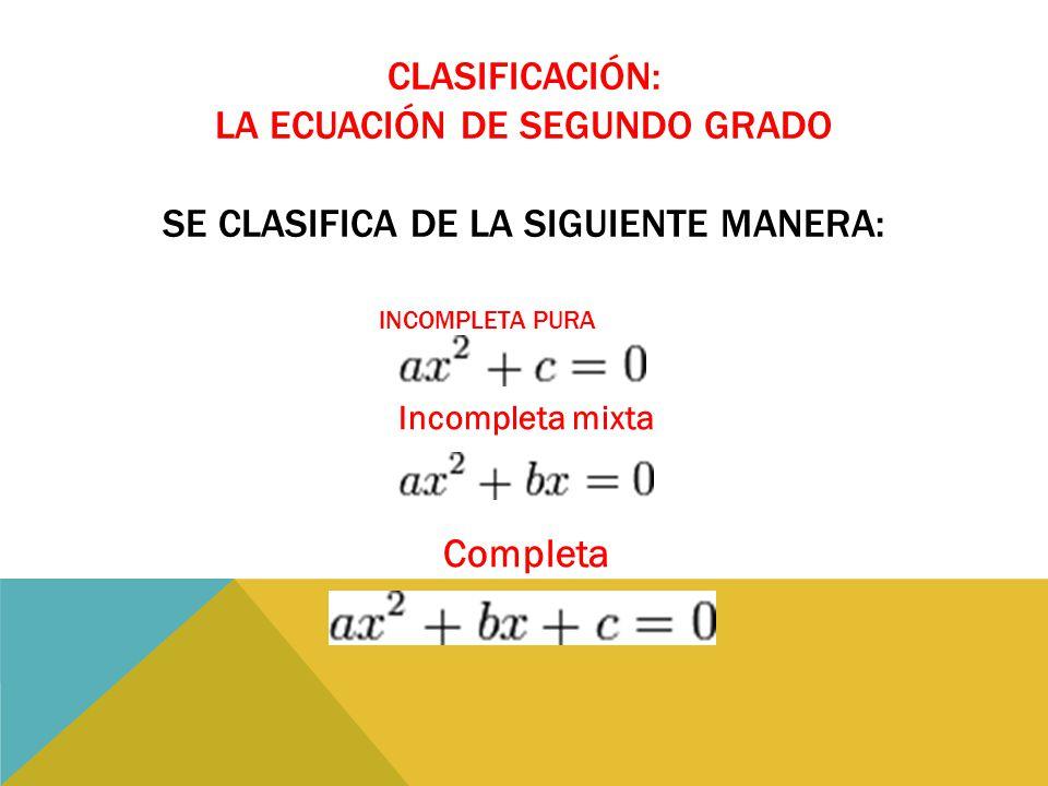 Clasificación: La ecuación de segundo grado se clasifica de la siguiente manera: