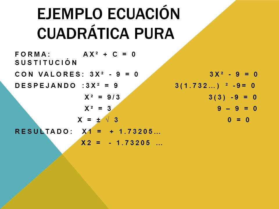 Ejemplo ecuación cuadrática Pura