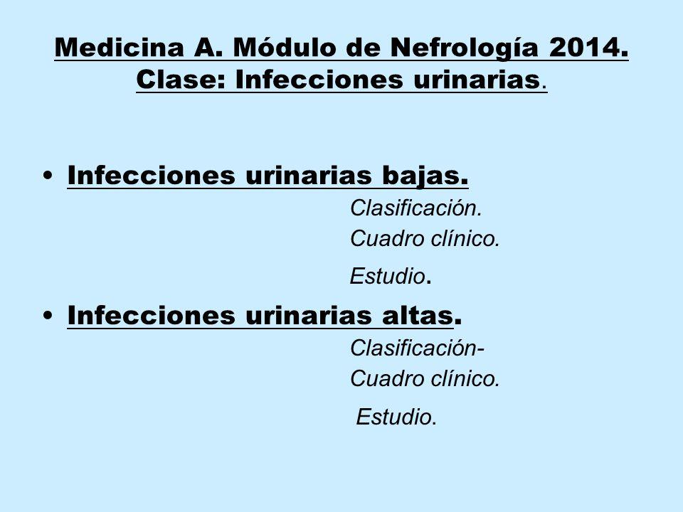 Medicina A. Módulo de Nefrología 2014. Clase: Infecciones urinarias.