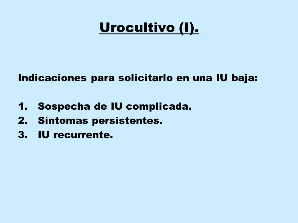 Urocultivo (I). Indicaciones para solicitarlo en una IU baja: