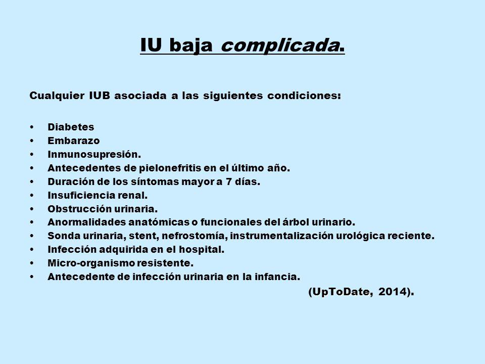 IU baja complicada. Cualquier IUB asociada a las siguientes condiciones: Diabetes. Embarazo. Inmunosupresión.