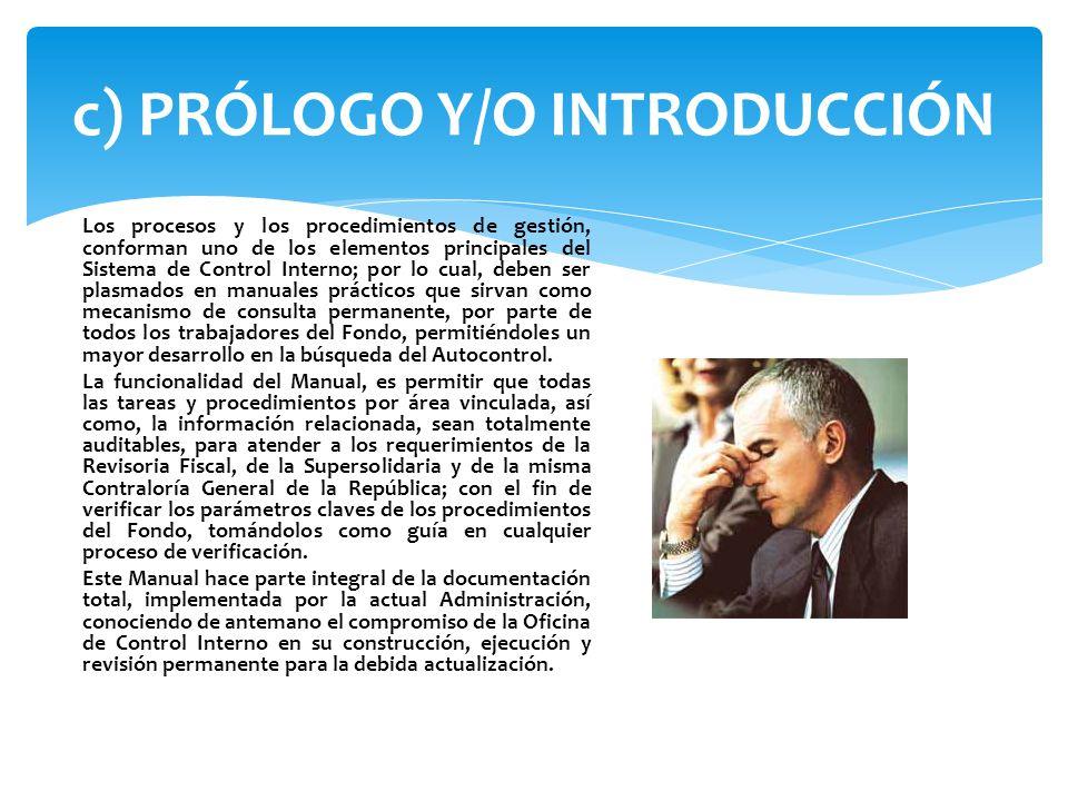 c) PRÓLOGO Y/O INTRODUCCIÓN
