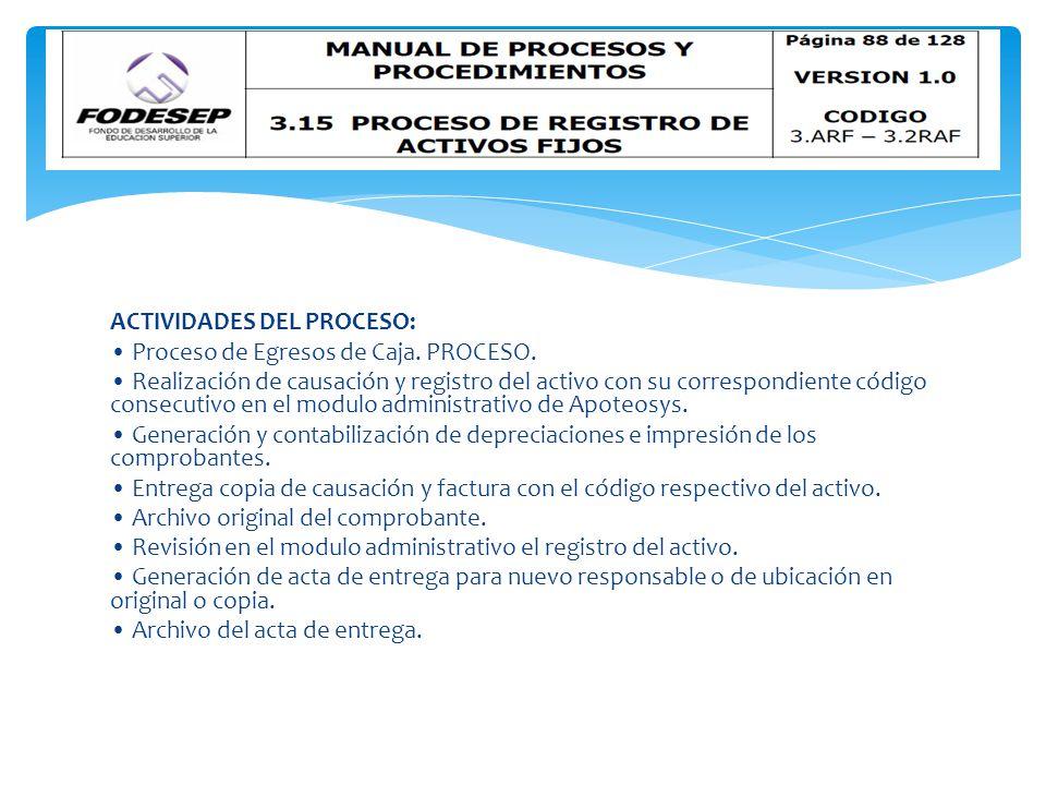ACTIVIDADES DEL PROCESO: