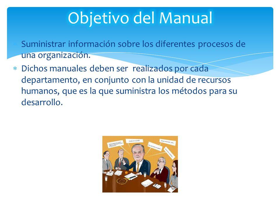 Objetivo del Manual Suministrar información sobre los diferentes procesos de una organización.