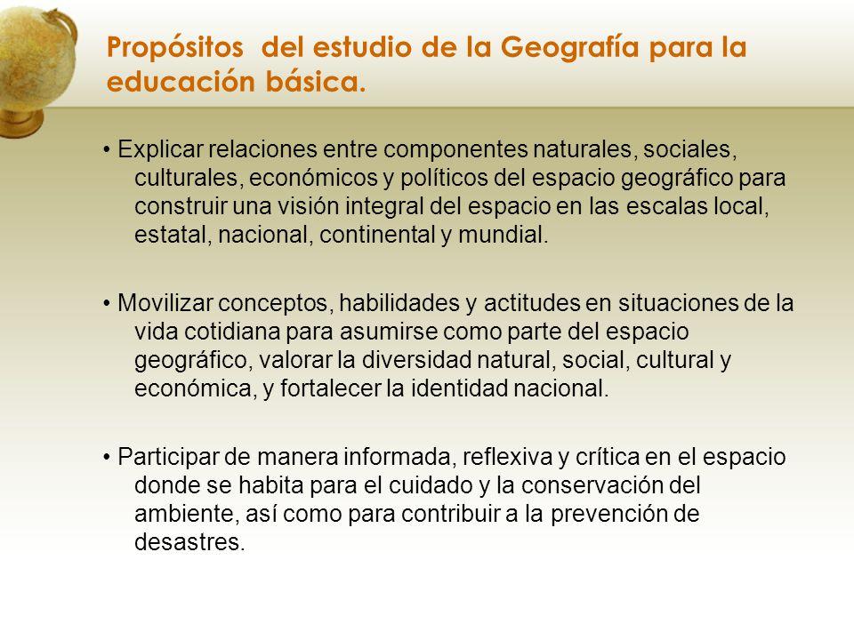 Propósitos del estudio de la Geografía para la educación básica.