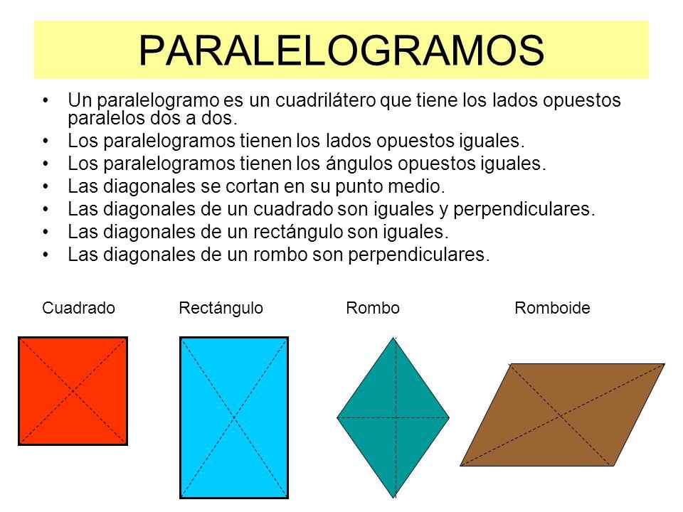 PARALELOGRAMOS Un paralelogramo es un cuadrilátero que tiene los lados opuestos paralelos dos a dos.