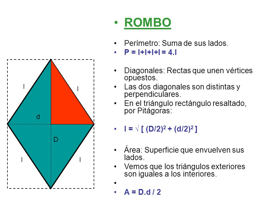 ROMBO Perímetro: Suma de sus lados. P = l+l+l+l = 4.l