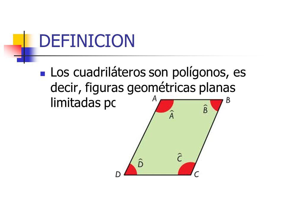 DEFINICION Los cuadriláteros son polígonos, es decir, figuras geométricas planas limitadas por líneas rectas.