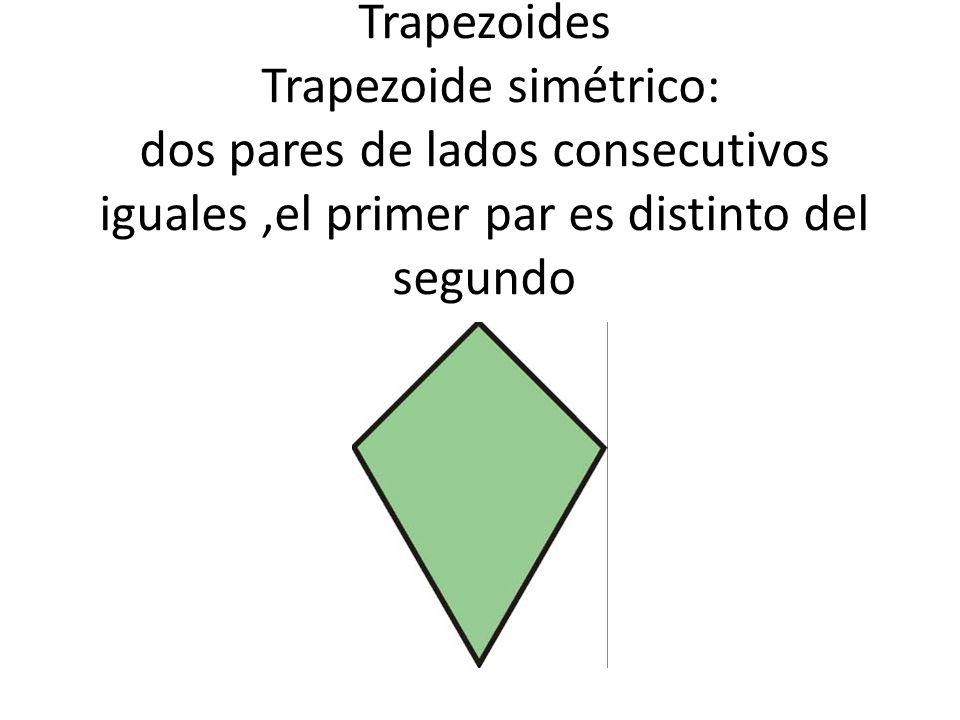 Trapezoides Trapezoide simétrico: dos pares de lados consecutivos iguales ,el primer par es distinto del segundo