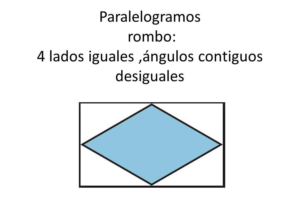 Paralelogramos rombo: 4 lados iguales ,ángulos contiguos desiguales