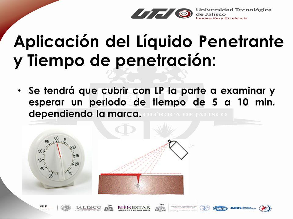 Aplicación del Líquido Penetrante y Tiempo de penetración: