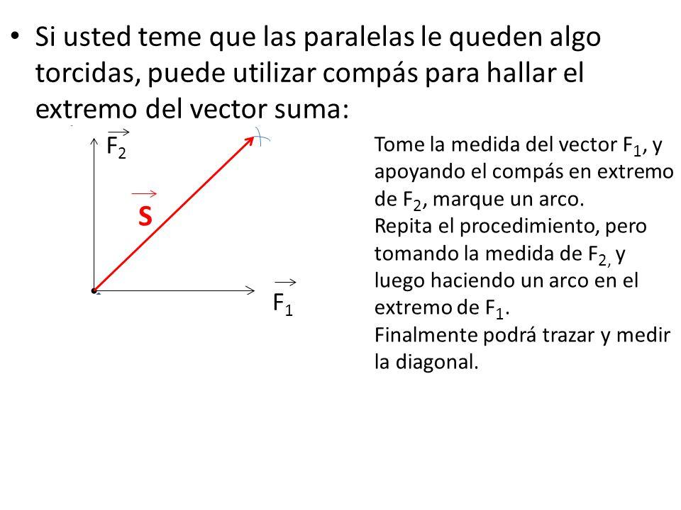 Si usted teme que las paralelas le queden algo torcidas, puede utilizar compás para hallar el extremo del vector suma: