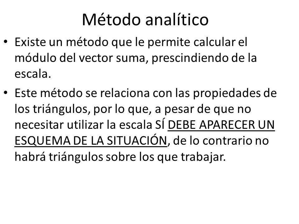 Método analítico Existe un método que le permite calcular el módulo del vector suma, prescindiendo de la escala.