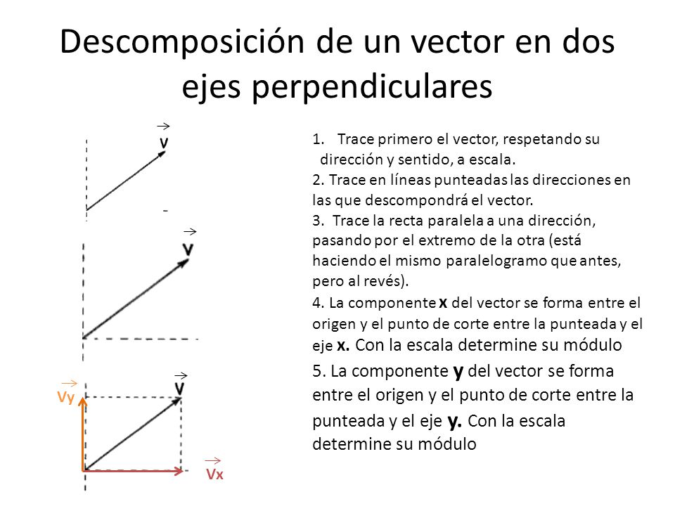 Descomposición de un vector en dos ejes perpendiculares